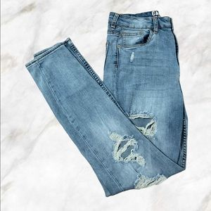 Distressed Ultra High Rise Skinny Jeans Sz 9